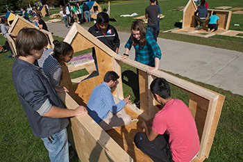 Students work on their shack for last year's Shack-A-Thon.