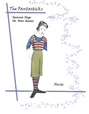 "A sketch by Maria Marrero for the costume of the Mute from Syracuse Stage's production of ""The Fantasticks"" in the 2007-08 season"