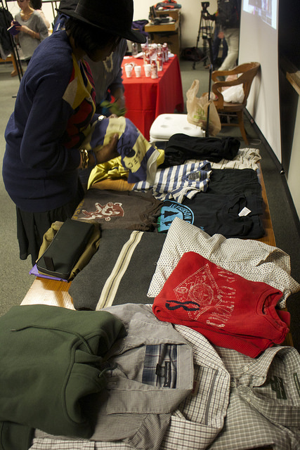 "Clothing is set up for ""shoppers"" to browse during last semester's Style Lottery event. An upcoming Style Lottery will be held Sept. 25. Photo by Melissa Martinez '16"