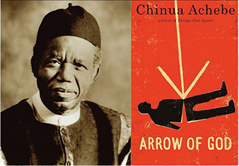 "Chinua Achebe, left, and the cover of his book ""Arrow of God"""