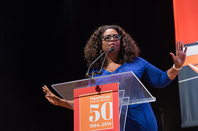 Oprah Winfrey addresses the attendees at the dedication of the Newhouse Studio and Innovation Center.