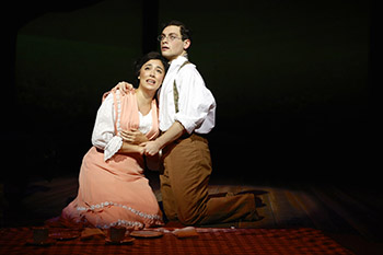 Ana Marcu and Ethan Saviet in the SU Drama production of Parade (Photograph by Michael Davis)