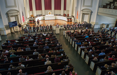 More than 500 people attended the first Fast Forward Syracuse Town Hall held Monday in Hendricks Chapel.
