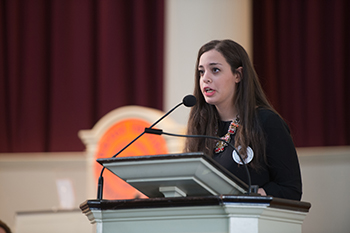 Marwa Eltagouri, a 2013-14 Remembrance Scholar, speaks during last year's convocation in Hendricks Chapel. At the convocation, one scholar is chosen to speak on behalf of the collective group of 35 scholars.