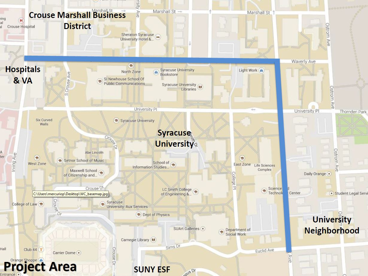 This map highlights the area in which traffic will be reduced from four lanes to two.