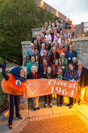 The front steps of Goldstein Alumni and Faculty Center is a favorite spot for photos. Here's the Class of 1964 at Orange Central 2014, returning for their 50th.