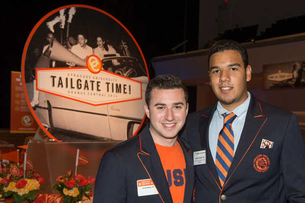 Orange Central 2014 Donor Tailgate festivities brought together Syracuse University undergraduates Keith Zubrow '15, left and Arturo Costa '16. Zubrow is a dual major in broadcast and digital journalism and management in the Newhouse and Whitman schools; Costa majors in political science and international relations in the College of Arts and Sciences.