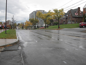 This section of Comstock Avenue will be reduced from four lanes to two as part of the project.