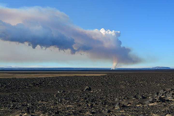 A view of the eruptive plume, captured Sept. 9, was taken from about 50 kilometers to the north of the main vents. Jeffrey Karson, Earth sciences professor in the College of Arts and Sciences, describes this eruption as one of the most closely studied ever, with Iceland as a natural laboratory.