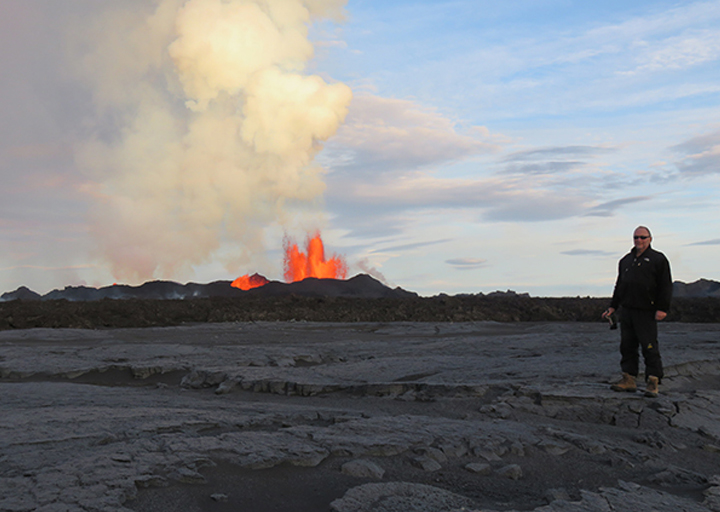 Jeffrey Karson, an expert in structural geology and tectonics, gets within two kilometers of the main eruptive vents. His collaboration with investigators at the University of  Iceland  Institute of Earth Sciences gives him a first-hand view of the early stages of the eruption.