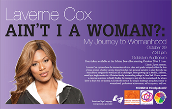 Actress Laverne Cox will speak on Oct. 29 as part of SU's celebration of Coming Out Month.