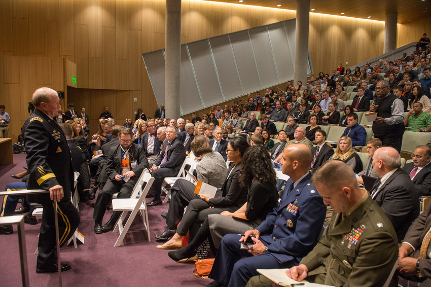 General Martin Dempsey listens to a question from an audience member during his presentation Friday at Dineen Hall.