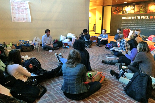 Students at the sit-in in Crouse-Hinds Hall