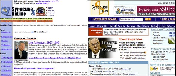 Screenshots of the Syracuse Post-Standard's website, Syracuse.com, from 1996, left, and 2004