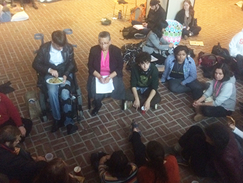 University College Dean Bea González meets with members of THE General Body Thursday evening in Crouse-Hinds Hall.