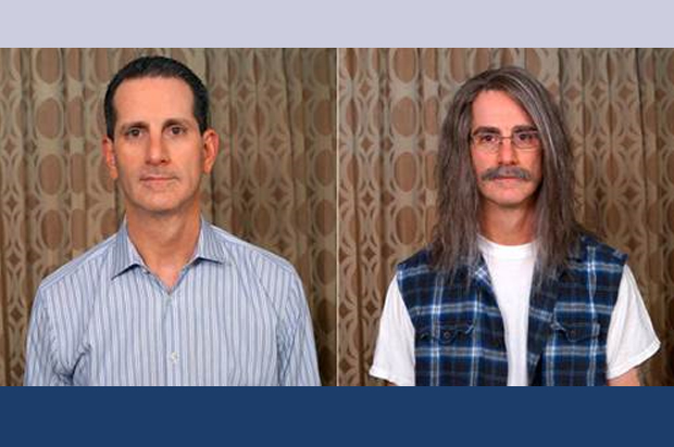 John Hartman's before and after photo in 'Undercover Boss'. (Courtesy CBS)