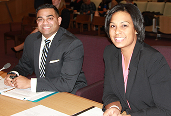 Manu Sebastian, left, and Dani asdfasdf at the Moot Court competition.