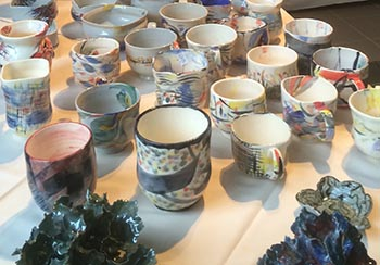 All sorts of mugs are available at the Shaped Clay Society's Mug Sale, running through Dec. 5.