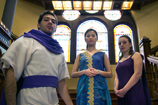 Alexander Alpert as Aeneas, Jing Liu as Dido, and Catherine Bauman as Belinda.