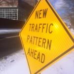 Motorists on Comstock Avenue approaching Eucid Ave will notice these signs alerting them to the new traffic pattern ahead.
