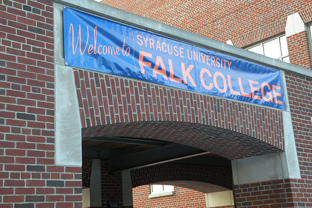 A sign welcomes students, staff and faculty to the new home of Falk College.
