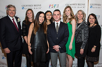 Abbey Doneger, Delaney Estoclet, and Marla Rosen, the Doneger Group; Indradevi Nuon, David Kern, and Kate Johnson, SU's 2015 YMA FSF Scholars; Maryanne Moore, the Doneger Group; and Rose Marie Crisalli, SU program manager and YMA educator at the YMA FSF awards dinner.