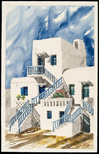 A watercolor of a building in Greece painted by Harry der Boghosian