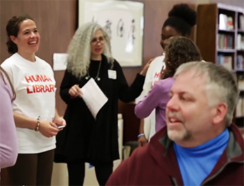 "Human ""books"" and those withdrawing them socialize during last year's Human Library event."