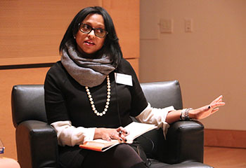 Robin Lattaker-Johnson speaks at Newhouse recently.