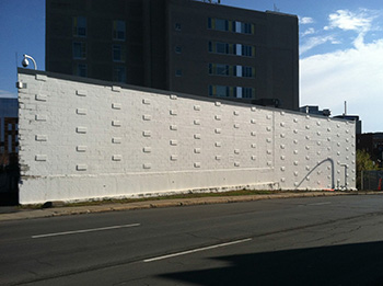 This large wall facing West Street is one of two to be designed for in the mural contest.