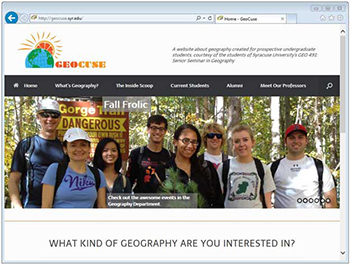 The home page of GeoCuse, built by students in one of Anne Mosher's classes