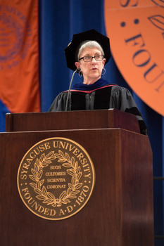 Maxwell Professor Kristi Andersen was the 2014 faculty speaker for New Student Convocation.