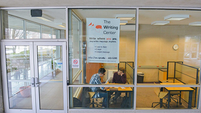 The Writing Center is located in 101 Huntington Beard Crouse Hall, just off the patio. (Photo by Chase Guttman '18)