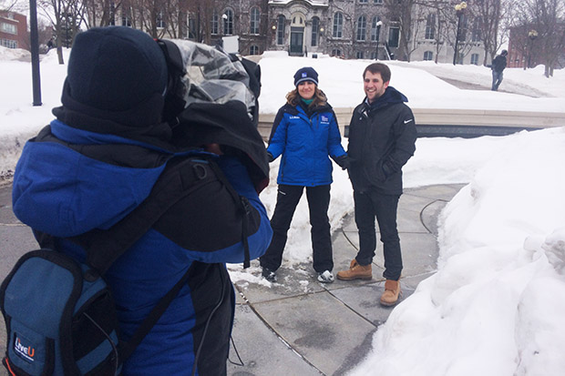 Jeff Kurkjian '16 is interviewed by The Weather Channel.