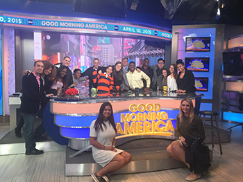 Students in the College of Visual Arts' Department of Communication and Rhetorical Studies touried the set of Good Morning America as part of Engaging Careers NYC.