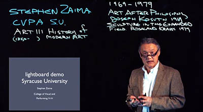 Associate Professor Stephen Zaima of the College of Visual and Performing Arts does a Lightboard Demonstration.