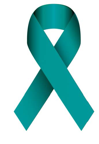 The teal ribbon symbolizes National Sexual Assault Awareness Month.