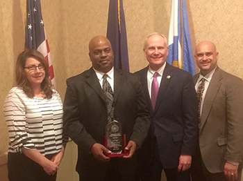Central New York Association of Chiefs of Police recognize Detective James Hill with the 2015 Law Enforcement Commendation. CNYACOP President Paul Waltz, Chief of Police at SUNY Upstate Medical University issued the award along with Interim DPS Chief Jill Lentz and Senior Vice President and Chief Law Enforcement Officer Tony Callisto.