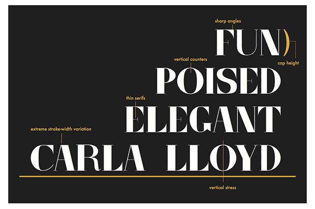 Newhouse junior Paula Hughes designed this typeface using Professor Carla Lloyd as her muse.