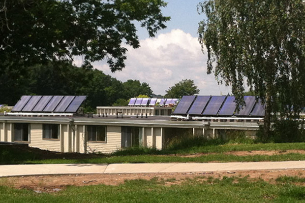 Syracuse University installed 20 solar thermal panels on South Campus apartment buildings in 2013 to provide domestic hot water.