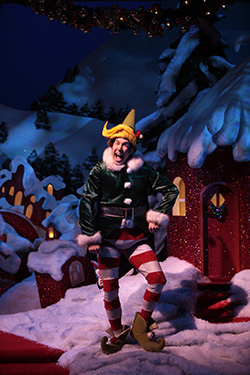 "Wade McCollum as Crumpet in Syracuse Stage's 2008 production of ""The Santaland Diaries"""