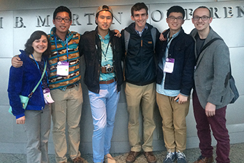 Zach Stringham, third from right, with fellow IID students at the IDSA conference at which he won asdfasdfasdf.