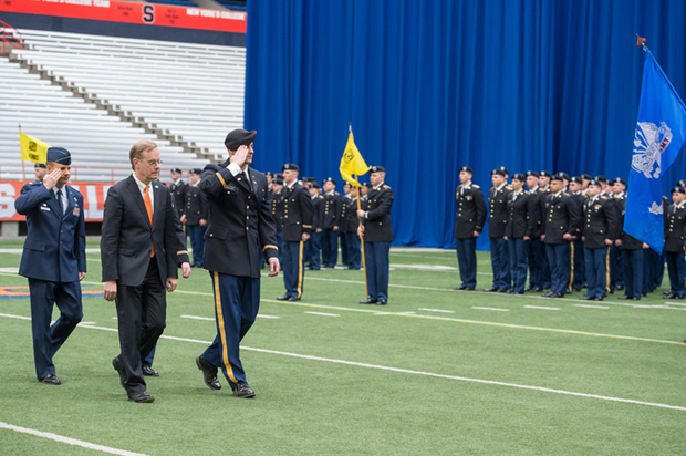 Chancellor Syverud, second from left, reviews ROTC cadets, along with Army and Air Force officers, during the 2015 Chancellor's Review and Awards Ceremony.