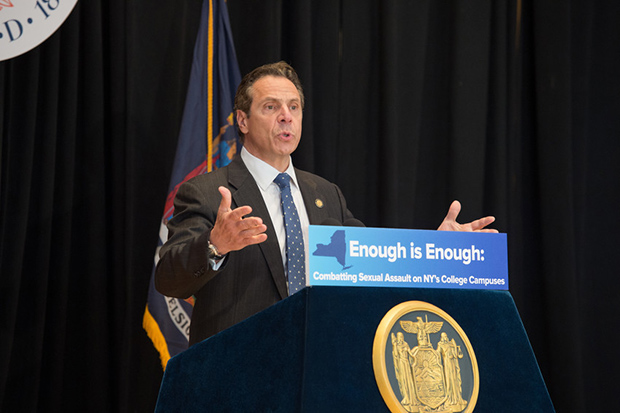 Gov. Andrew Cuomo addresses the crowd at Joyce Hergenhan Auditorium about sexual assault