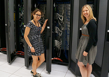 The University's 300 tera-FLOP supercomputer benefits an array of researchers involved with the Advanced LIGO project, including Samantha Usman '16, left, and research scientist Laura Nuttall.