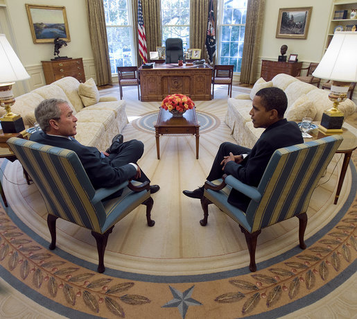 President George W. Bush and President-elect Barack Obama meet in the Oval Office of the White House Monday, Nov. 10, 2008.  White House photo by Eric Draper