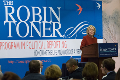 Former Secretary of State Hillary Rodham Clinton speaks at the Toner Awards Ceremony.