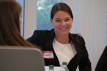 Emily Matthews '17, a political science major in the College of Arts and Sciences listens to Atlanta-based alumni discuss career opportunities for graduates.