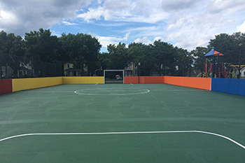 The new box soccer court at Skiddy Park