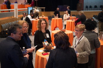 Interim Vice Chancellor and Provost Liz Liddy, right, chats with staff members during the Day of Conversation earlier this year.